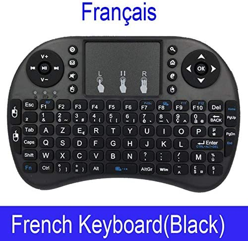 BMWY Mechanical Keyboard i8 Mini Wireless Keyboard 2.4 GHz English Rabic Russian Hebrew Keyboard Touchpad for Laptop Android Keyboard Color : Lithium, Size : French Black Color
