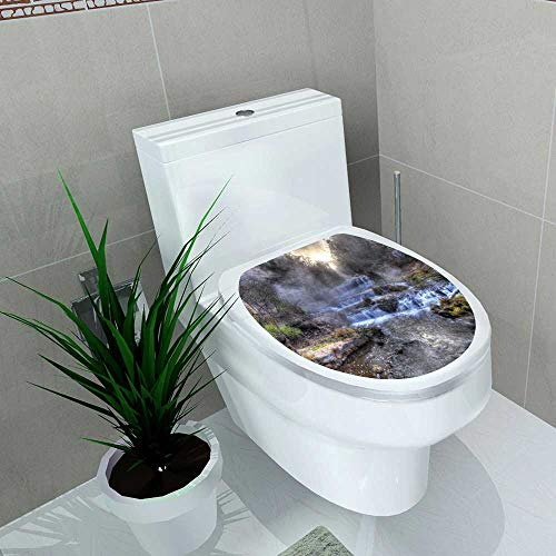 Home Decoration Colorful Scenic Waterfall in High Dynamic Range Toilet Cover Stickers W14 x L16