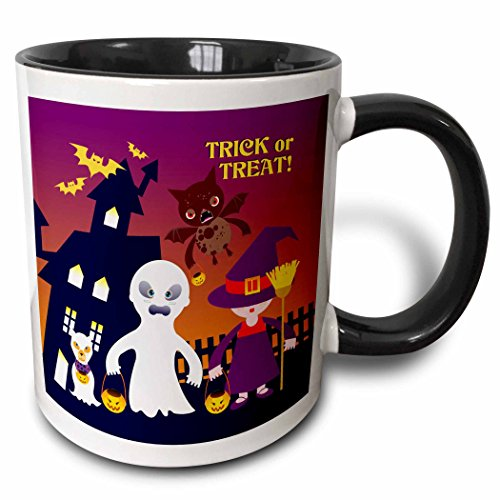 3dRose Belinha Fernandes - Halloween Celebration - Trick or treat message and kids dressed up as ghost and witch with dog ghost - 11oz Two-Tone Black Mug -
