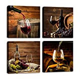 wine and grapes canvas art - ARTLONGJI Red Wine Cups HD Modern 4 Panels Framed Wall Art Abstract Giclee Canvas Prints Artwork Contemporary Vintage Pictures Paintings on Canvas Wall Art for Kitchen Home Decorations