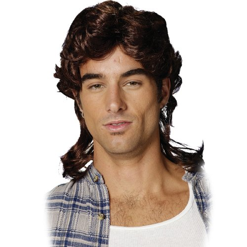 Mullet Wig-Brown Adult Costume Accessory