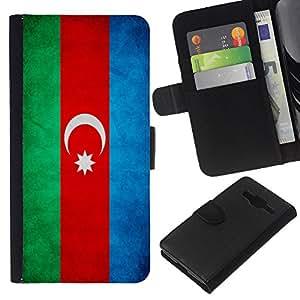 KLONGSHOP // Tirón de la caja Cartera de cuero con ranuras para tarjetas - Nacional bandera de la nación País Azerbaiyán - Samsung Galaxy Core Prime //