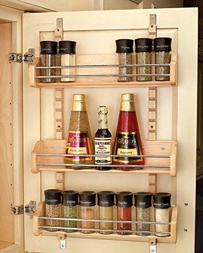 Rev-A-Shelf 4ASR-21 Adjustable Door Mount Spice Rack - Wood/Wire