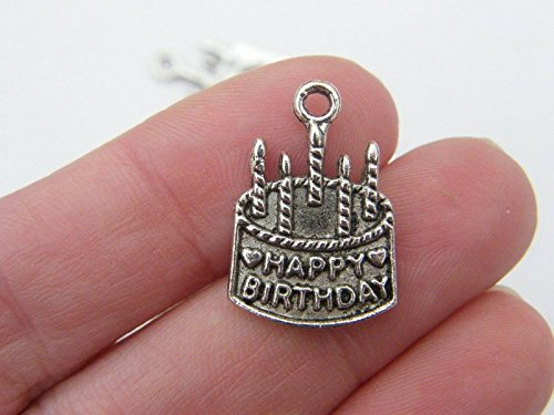 a0d6a62e7 Bulk 50 Birthday Cake Charms Antique Silver Tone FD136: Amazon.co.uk:  Kitchen & Home