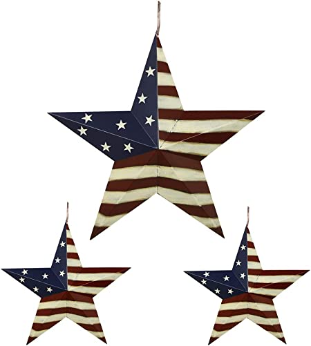 Metal Barn Star Patriotic Hanging Wall Decor Set