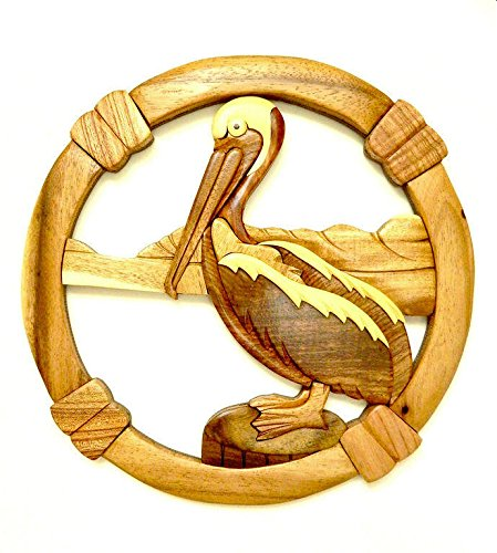 Round Pelican Wooden Wall Hanging