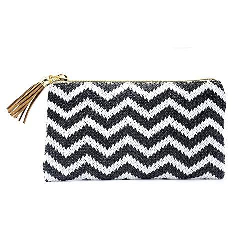 Women Wallet Ocean Beach Stripe Woven Lady Handbag with Coin Pocket ()