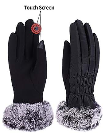 Women Winter Warm Gloves Fleece Lining Thick Windproof