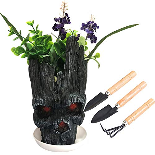Groot Flower Pot, Nuokexin Guardians of The Galaxy Angry Groot Action Figures Groot Planter Pen Holder Model Toy Halloween Christmas Gift(1 Plant Saucer and 3 Pieces Mini Gardening Plant Tool) by Nuokexin