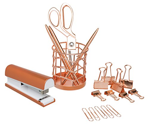 Rose Gold Desk Accessories | 7 Desktop Essentials (44 Items Total) | Office Supply Set & Organizer in Rose Gold Décor by Greenline Goods (Image #4)'