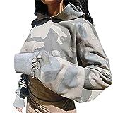 Willtoo(TM) Women Camouflage Hoodie Sweatshirt Sweater Crop Top Coat Midriff-baring Pullover Tops
