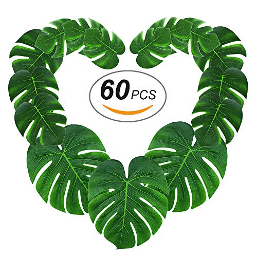 Silk Jungle Plants (60pcs Tropical Palm Leaves丨Artificial Monstera Leaves丨Tropical Leaf Placemats丨Hawaiian Luau Party Wedding Decorations丨Table Centerpieces Wall Décor by Gooidea)