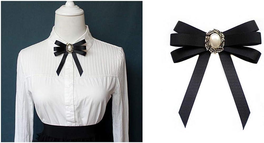 auvwxyz. Broches Vestido de Camisa Blanca para Damas con Cuello Redondo y Accesorios con Lazo Negro, Hojas de 05 Perlas: Amazon.es: Joyería