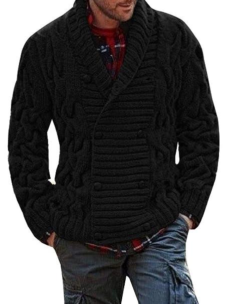 Amazon.com: Mens acanalado Knit Chunky chaqueta de punto ...
