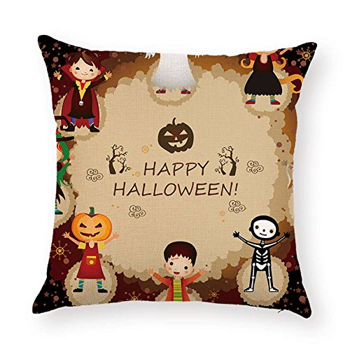 SPXUBZ Pumpkin Sayings Quotes Happy Halloween Ghost Skull Cosplay Flax Throw Pillow Cover Home Decor Nice Gift Square Indoor Linen Pillowcase Standar Size:24x24 in (Two Sides) -