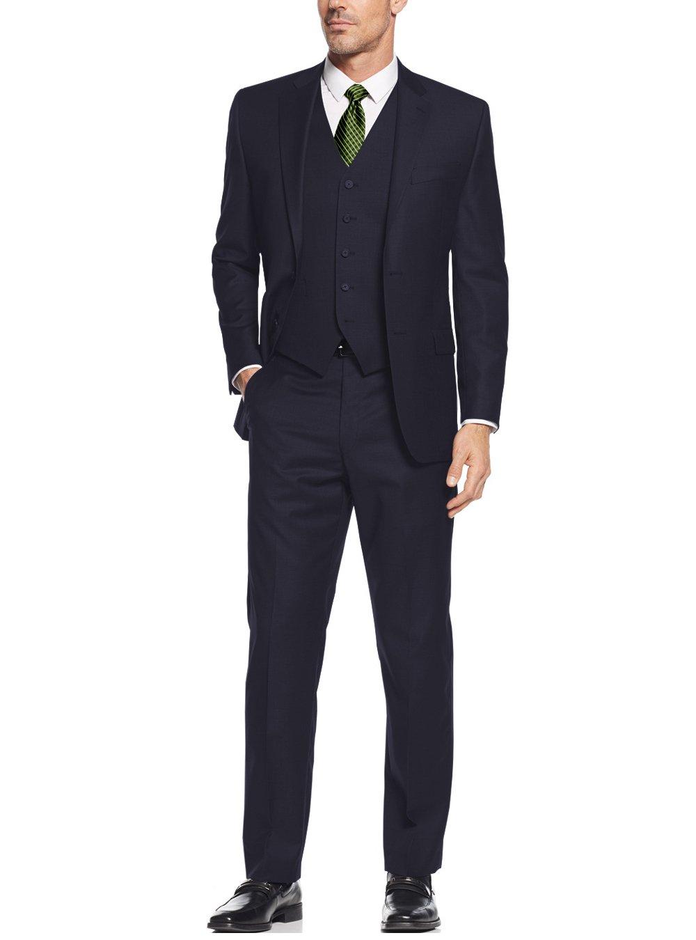 Salvatore Exte Mens Suit Vested Three Piece Blazer Jacket Dress Vest Plus Pants (48 Long US / 58L EU/W 42'', Navy) by Salvatore Exte