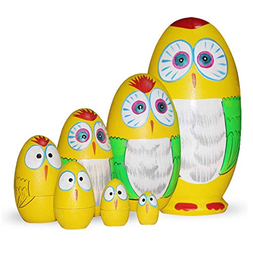 Starxing Russian Nesting Dolls Matryoshka Dolls Owl Easter Eggs Wooden Hand Painted Set of 7 for Children Easter Christmas Home Decorations
