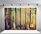 AOFOTO 7x5ft Vintage Farm Tools Backdrop Barn Implements Photography Background Rustic Countryside Cowboy Adult Kid Man Artistic Portrait Photo Shoot Studio Props Video Drop Vinyl Wallpaper Drape