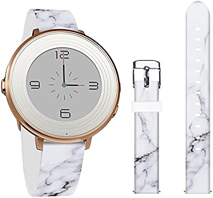 Pebble Time Round 14mm Bands,Jolook Leather Replacement Band with Quick Release for Pebble Time Round 14mm Watch -Unique Black Cracks Marble Band
