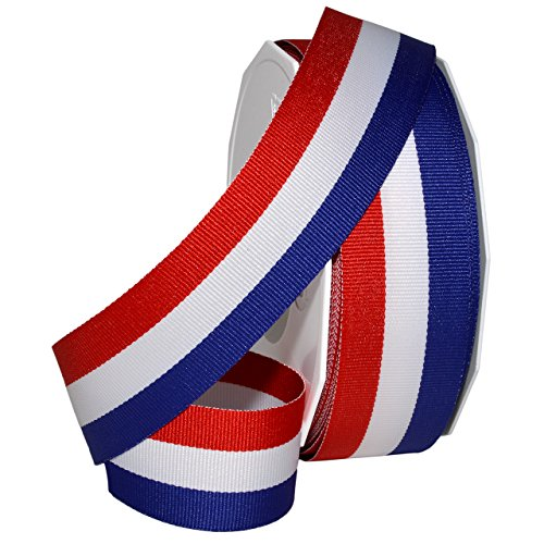 Morex Ribbon Stripesd Ribbon, Grosgrain, Red White & Blue 1-1/2