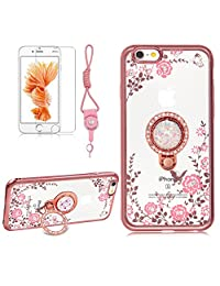 iPhone X Case,Girlyard Crystal [Pink Flower Butterfly] Glitter Sparkle Case Soft Silicone TPU Rose Gold Bumper Ultra Thin Back Cover with 360 Degree Rhinestone Ring Protective Cover for iPhone X