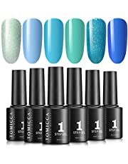 TOMICCA Soak Off UV LED Gel Nail Polish Set, One Step Gel Polish 6 Colour 5016