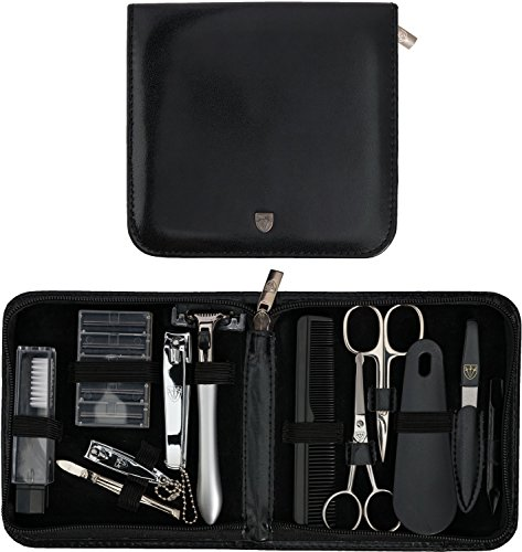 3 Swords Germany - brand quality 12 piece manicure pedicure grooming kit set for professional finger & toe nail care tweezers file clipper fashion leather case in gift box, Made by 3 Swords (33514)
