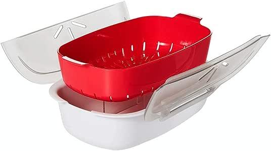 Flushzing Microondas sosa Vapor para microondas Removble Alimentación Alimentación Cocina Microondas Cocina del Vapor casa Cocina envase de alimento