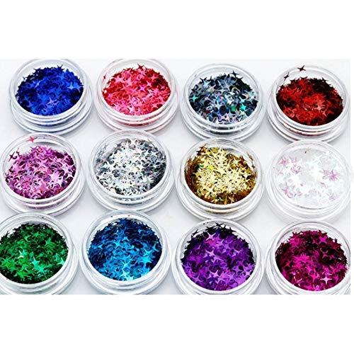 12 Boxes/Set Four Point Stars Shape Nail Glitter Powder Resin Supplies-Nail Glitter Powder for Nails-Nail Glitter Powder Holographic-Nail Art Glitter Powder Dust-Sequins Powder for Nail Art Glitter