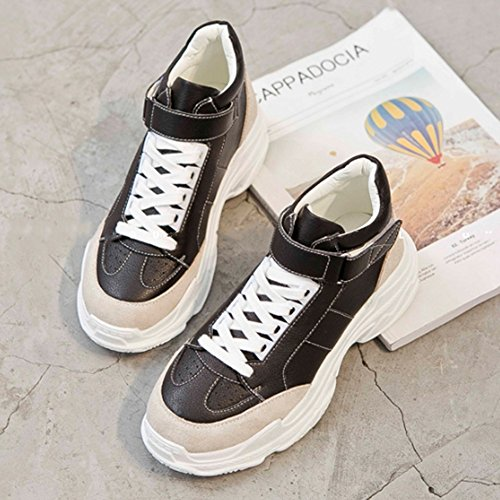 UK5 scarpe accogliente CN38 Fire scarpe coreana Colore spesso sportive Nero Fondo EU38 Bianca LVZAIXI Piccole bianche 5 dimensioni Versione Super scarpe xT78qHX