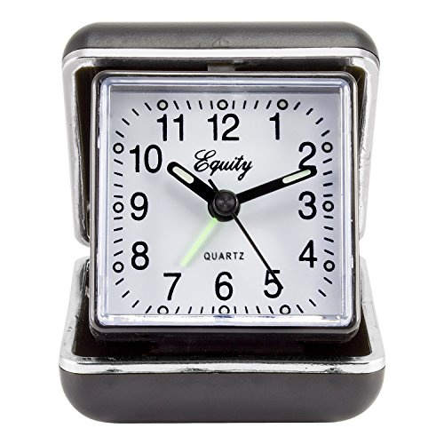 Equity by La Crosse 20080 Folding Travel Quartz Alarm Clock Black Folding Clock