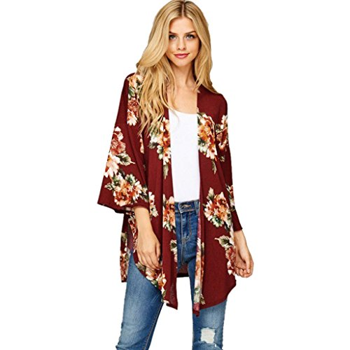 DaySeventh Lady Women's Fall Long Sleeve Floral Print Kimono Cardigan Blouse (XL, (Floral Long Sleeve Cardigan)
