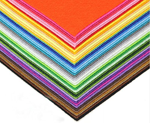 DIY Polyester Felt Nonwoven Fabric Sheet for Craft Work 40 Colors Squares 11.81x11.81inch (30x30cm), About 1mm Thick, Type B (Type B 1mm)