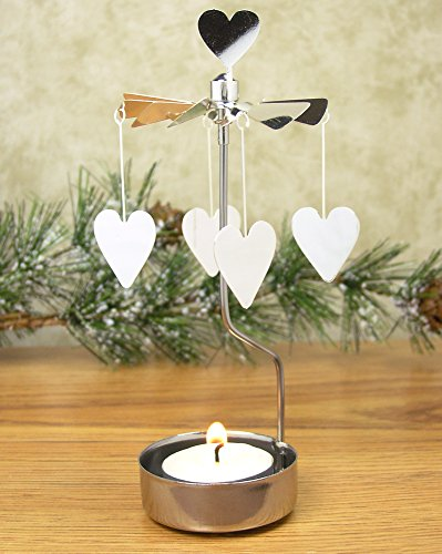 Heart Candle Holder - Spinning Tealight Candle Holder with Silver Heart Charms (Scandinavian Hearts)