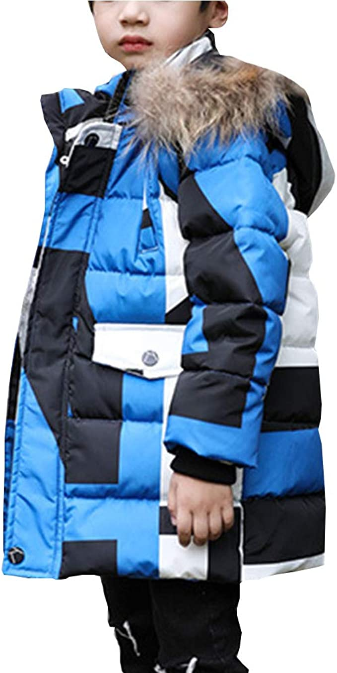 LSERVER-Parka Jungen Daunenjacke Mantel Kapuzen Parka Jacket Verdicken Schneeanzug Warm Kinder Trenchcoat Winter Oberbekleidung