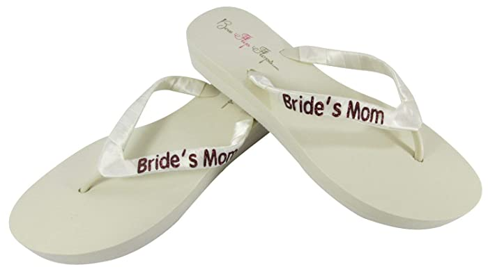 7cce853e2 Amazon.com  Burgundy Glitter on Ivory Wedge Flip Flops for Bride s ...