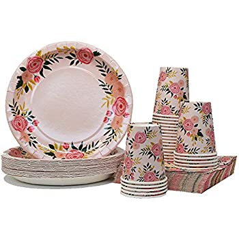 pink floral party pack plates napkins cups serves 25 perfect for birthdays bridal