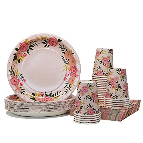 Floral Party Plates - Pink Floral Party Pack | Plates Napkins Cups Serves 25 | Perfect for Birthdays, Bridal Showers, Weddings, Tea Parties
