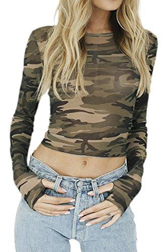 La Mujer De Manga Larga De Cuello Redondo Scoop Estampas Florales Elegantes Bodycon T Shirt Tops Blusas Green