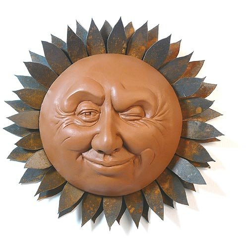 Winking Sun Face Outdoor Wall Sculpture, 13-Inch diameter (Plaque Sun Cotta Terra)