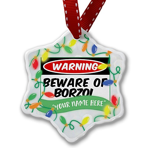 Personalized Name Christmas Ornament, Beware of the Borzoi Dog from Russia NEONBLOND