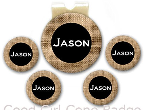 Magnetic Golf Ball Markers - Personalized Name Burlap - Set of 5 Markers Plus Hat ()