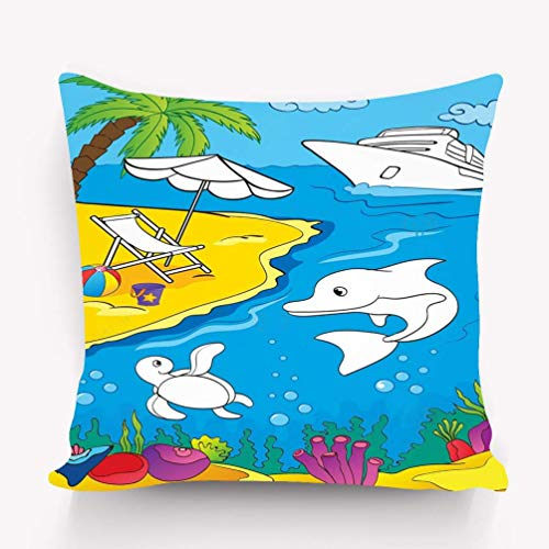 Home Throw Pillows Decor Pillow case Coloring Book sea Marine Life Coast Page Kids Variegated 18