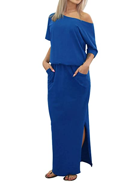 ISASSY Mujer Verano Vestido Perchero de máxima de Vestido de Largo Vestido Fiesta Vestido De Boho para Vestido de Noche
