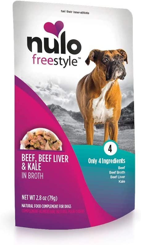 Nulo, Freestyle Puppy & Adult Beef, Beef Liver & Kale in Broth Recipe Dog Food Pouch, 2.8 oz