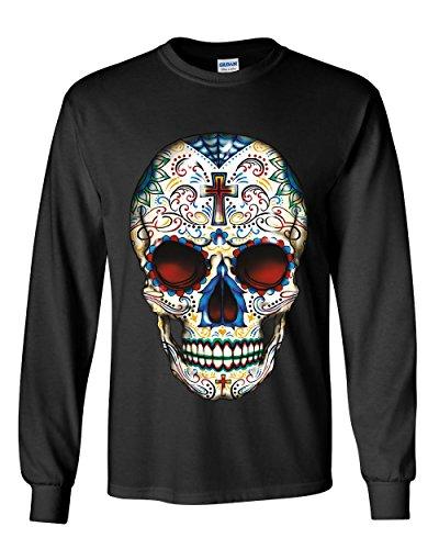Sugar Skull Calavera Long Sleeve T-Shirt Day of The Dead Dia de Los Muertos Tee Black L (Day Of The Dead Long Sleeve T Shirts)