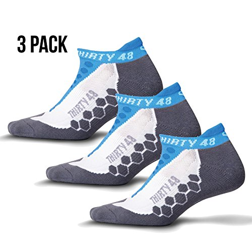 Thirty48 Running Socks Unisex, CoolMax Fabric Keeps Feet Cool & Dry Blue/Gray, Large (Rei Mens Shorts)