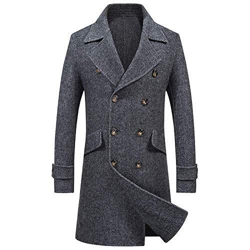 Men's Premium Double Breasted Woolen Pea Coat Notched Collar Overcoat