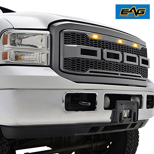 EAG Replacement Super Duty ABS Grille - Charcoal Gray - With Amber LED Lights for 05-07 Ford Super Duty F-250 F-350