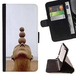 Momo Phone Case / Flip Funda de Cuero Case Cover - Estructura Arte Cabeza Bolas Espiritual - Samsung Galaxy J3 GSM-J300